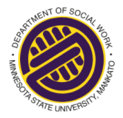 Circle with hands saying Department of Social Work