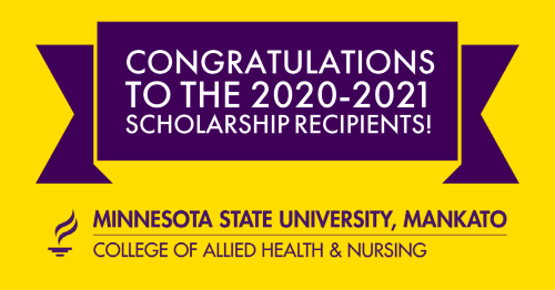 "Words ""Congrats to Scholarship Recipients"" with purple and gold"