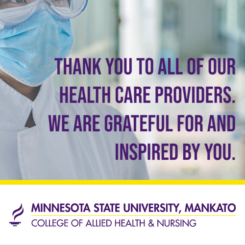 "Words ""thank you to all health care providers"""