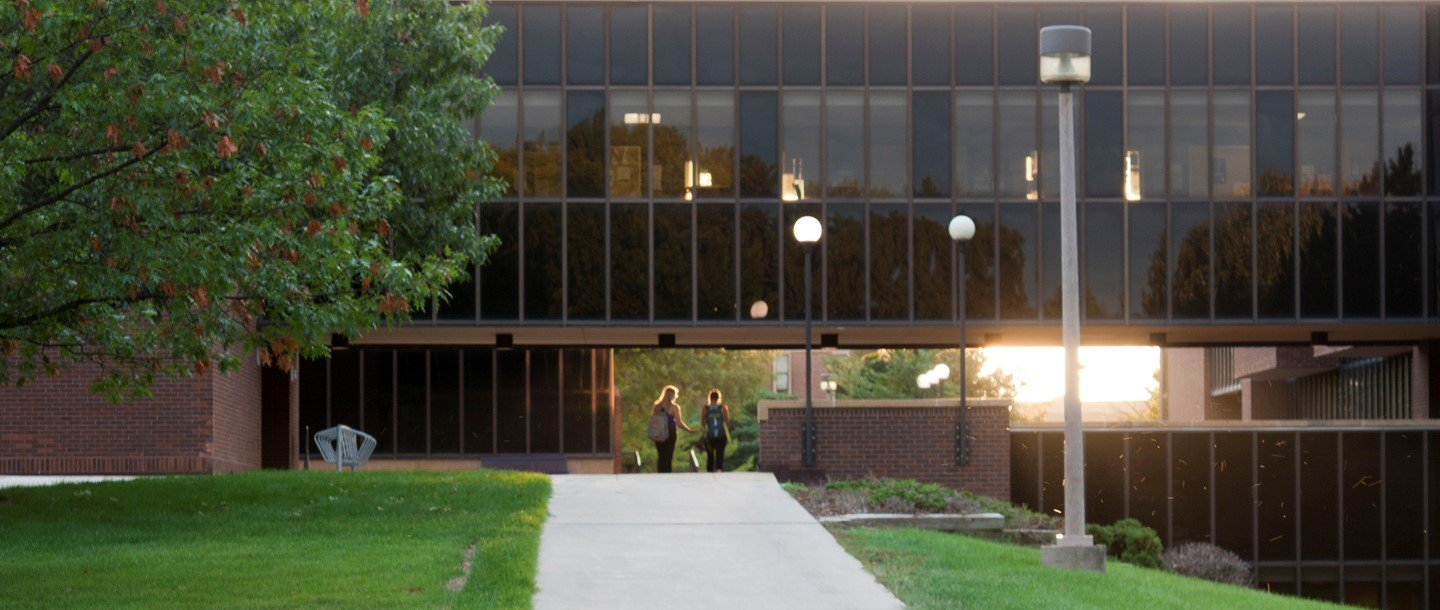 Campus building at dusk